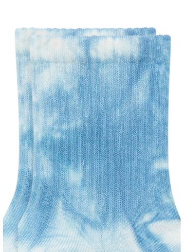 Mavi Mavi Batik Desenli Soket Çorap Beyaz